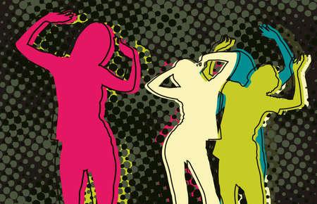 Disco people on the dance floor Illustration