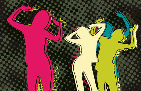 Disco people on the dance floor Illustration