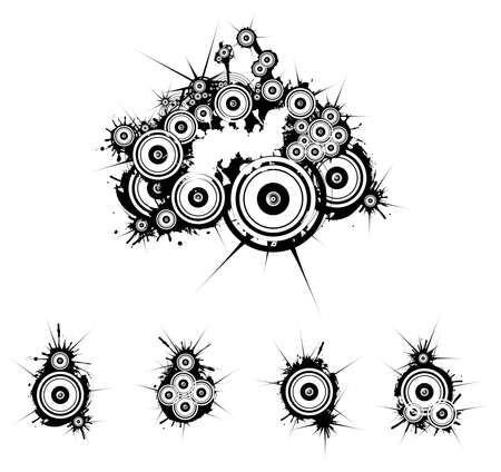 vibrations: Black and white dirty grunge background Illustration