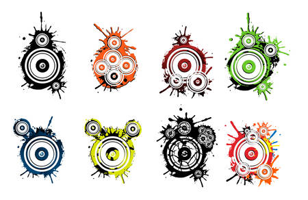 Dirty speakers grunge icons Stock Vector - 4562949