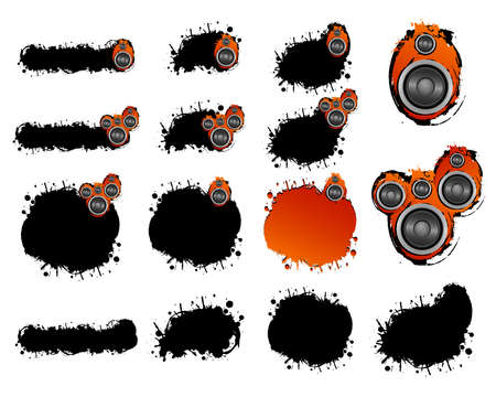 Grunge design elements from shapes and speakers Stock Vector - 4581710