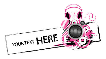 Emo grunge headphones design with copy space Vector