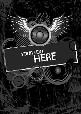 Grunge black and white wings design with copy space Illustration