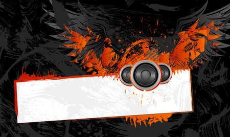 grunge wings: Grunge frame con ali e copia spazio Vettoriali