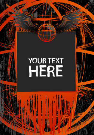 Grunge frame with wings and copy space Vector