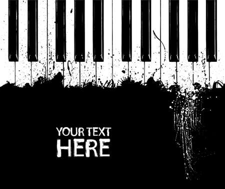 piano: Grunge black and white piano keys with copy space Illustration