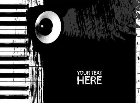 octaves: Grunge black and white piano keys and speaker with copy space