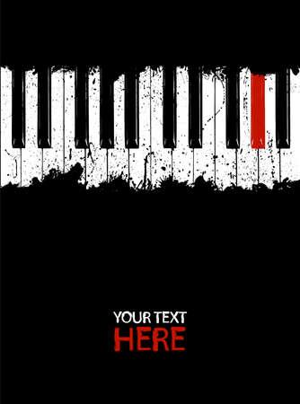 piano: Grunge piano rojo clave con copia espacio Vectores