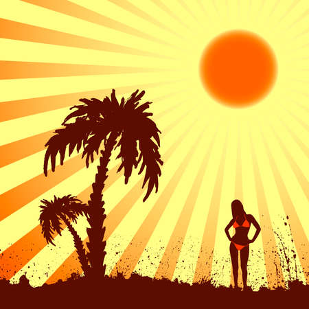 Summer, palm and woman under the sun Stock Vector - 4635913