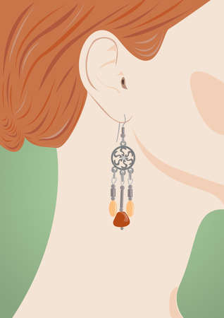 jeweller: Portrait of the redhead young woman with jeweller