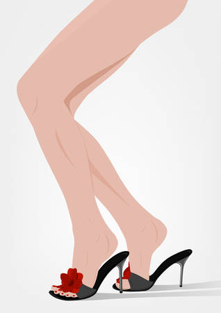 seductive woman: Female feet in sandals on the heels