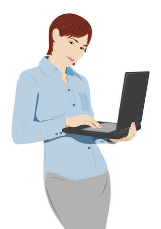 laptop vector: Young businesswoman with the laptop