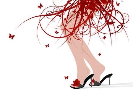 leg muscle: Mujeres con sandalias en los pies florales falda