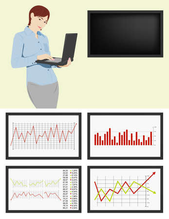 Young businesswoman with the laptop and LCD Stock Vector - 4677583