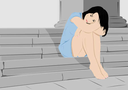 upset woman: Sad girl on steps with copy space Illustration