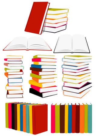 book vector: Stack of books, presentation, collected works