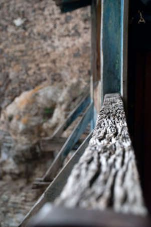 House handrail in mountains Stock Photo