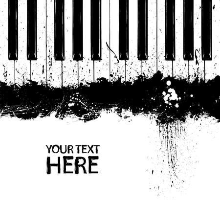 Grunge black and white piano keys with copy space Illustration
