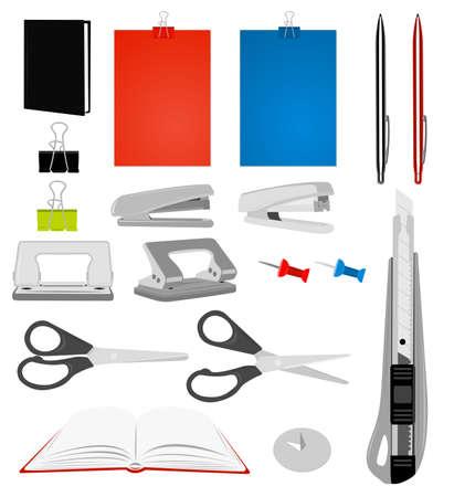 Stationery. Pen, diary, knife, stapler, scissors, book, punch etc.