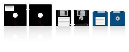 Auflistung von Disketten. Diskette 5,25, Diskette 3,5 und ZIP-Diskette