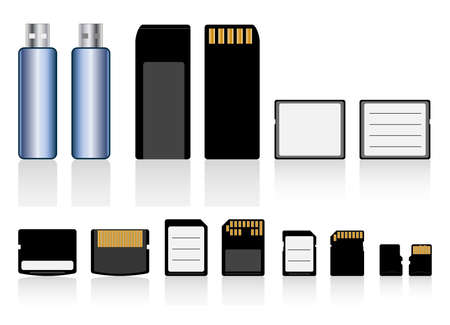 sd card: Vector collection of memory cards and usb flash drive Illustration
