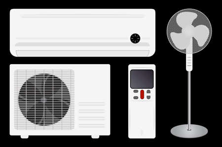 split: Air conditioning (split system) and fan