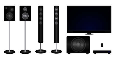 home cinema: Vector illustration of home cinema collection - speakers, tv, player etc.