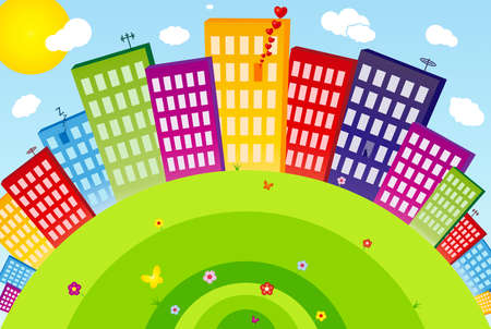 Funny city with buildings, flowers, butterflies and etc. Vector