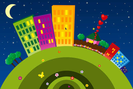 Night funny city with buildings, flowers, butterflies and etc. Vector