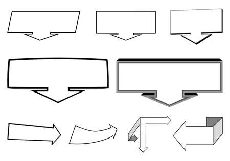 A set of 2D and 3D arrows elements and indicators for the headliner, caption, emphasis