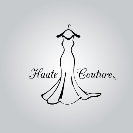 classic woman: Fashion classic dress for woman.  Illustration