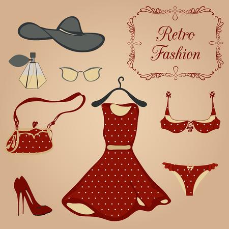 mode retro: Reeks retro fashion kleding en accessoires. Stock Illustratie