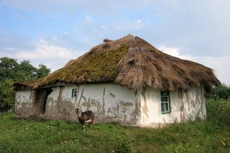 thatched roof: Abandoned old house under a thatched roof Stock Photo