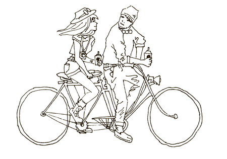 lovingly: Boy and girl lovingly look at each other. They ride on the bike - tandem. In the hands of their coffee.