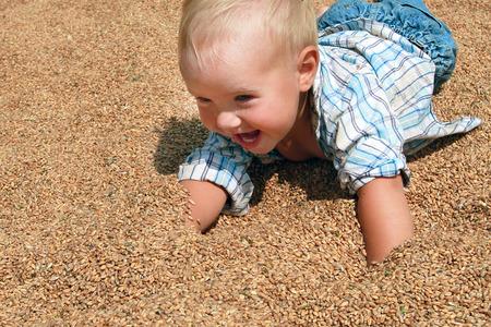 plaid shirt: Joyful blonde babe in a plaid shirt and jeans crawling on wheat grain
