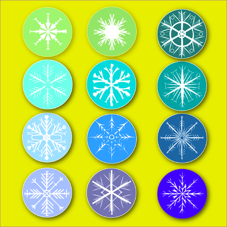 stored: Snowflakes on gentle circles. Snowflakes, circles and background are stored on 3 separate layers