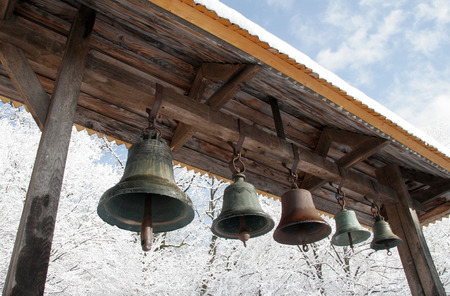 dismay: Russian Orthodox Church. Belfry with bells in the open air Stock Photo