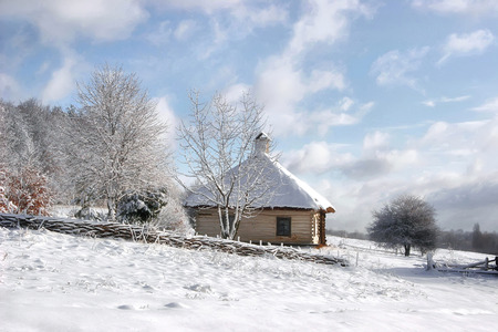 roof framework: Fairy-tale Fabulous  wooden house in the snow near a forest