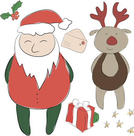 donative: Set of elements for the New Year or Christmas decor. Santa Claus and his Deer Rudolph  helper, bows for decoration, letter to Santa.  Use for printing, web design, postcards, brochures and other
