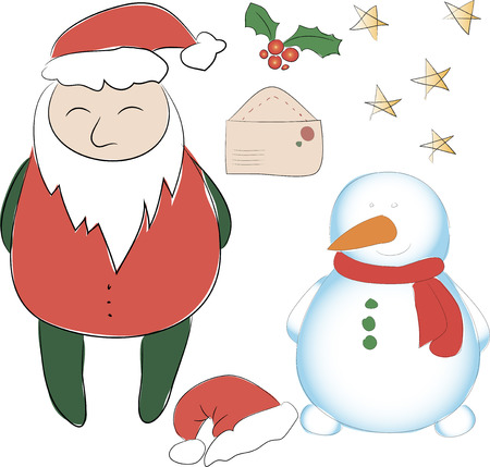 christmas carols: Set of elements for the New Year or Christmas decor. Santa Claus and his snowman helper, bows for decoration, letter to Santa. Use for printing, web design, postcards, brochures and other