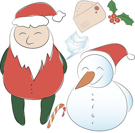 Set of elements for the New Year or Christmas decor. Santa Claus and his snowman helper, bows for decoration, letter to Santa. Use for printing, web design, postcards, brochures and other