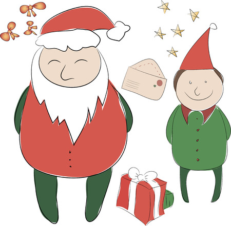 carols: Set of elements for the New Year or Christmas decor. Santa Claus and his Elf helper, bows for decoration letter to Santa, a great Christmas present in a box. Use for printing, web design, postcards, brochures and other Illustration