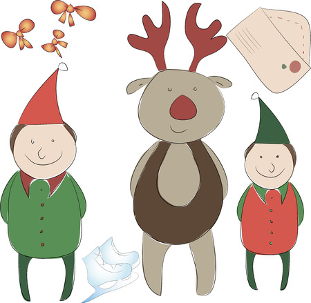 christmas carols: Set of elements for the New Year or Christmas decor. Santas Helper Elf and Rudolph reindeer, bows for decoration letter to Santa Claus, skating for free
