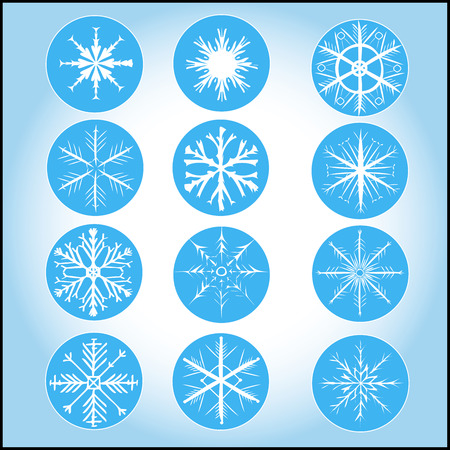 stored: Snowflakes on soft blue background. Snowflakes, circles and background are stored on 3 separate layers