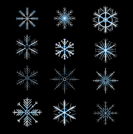 christmas carols: 12 Snowflakes with gradation of color. vector