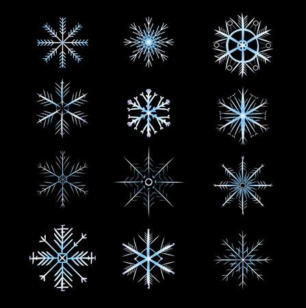 carols: 12 Snowflakes with gradation of color. vector