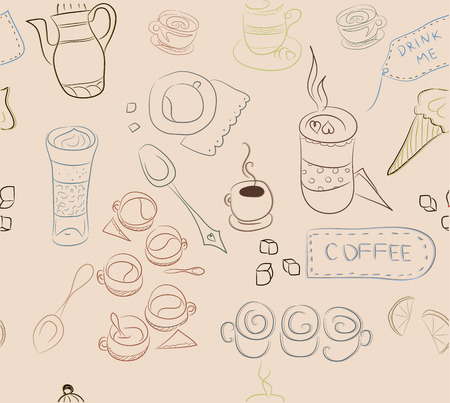 drink me: Seamless pattern with elements of coffee, coffee dishes, cakes, pastries. Concept for coffee, Coffee shop, a series of notebooks, booklets, linen, fabrics, linings of bags, napkins and more. Two layers.