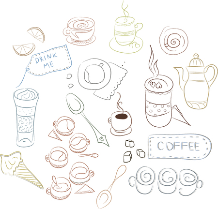 substrate: Set of coffee dishes, cakes, pastries. Concept for coffee, Coffee shop, price lists and registration cards, a series of notebooks, booklets, linen, fabrics, linings of bags, napkins and more.