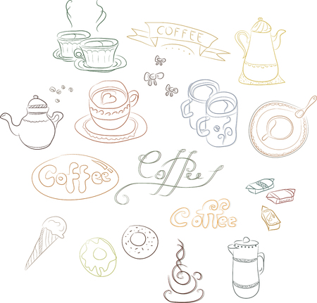 illustrator 10: A set of contour images of coffee dishes, cakes, pastries. Concept for coffee, Coffee shop, price lists and registration cards, a series of notebooks, booklets, linen, fabrics, linings of bags, napkins and more. Vector Illustrator 10 Illustration