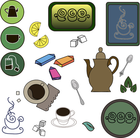 ceylon: A set of tea items, tea, coffee, and all that is connected with the tradition of drinking tea. Concept for coffee house, tea, coffee, issue price lists and labels for tea, the design of a series of booklets, linen, fabrics, bags, napkins and more. Vector